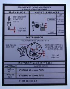 Mk1 Escort 1600 GT & 1300 GT Tech Info Decal (Black on Silver)
