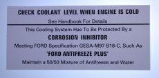 Mk1 Escort Coolant Warning Decal